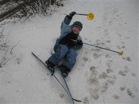 Первый раз на лыжах)))
