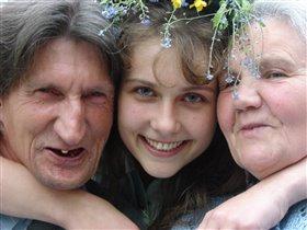 Дедушка и бабушка, да внучка