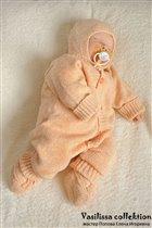 Вязаный костюм для новорожденных Меланж на 0-4 мес