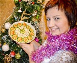 новогодняя елочка и новогодний оливье)