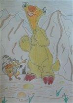 ленивец Сид и  белка Скрэт с ее орехом