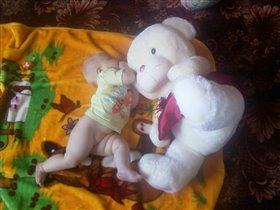 Уронили мишку на пол....и кусаем ему ухо)))