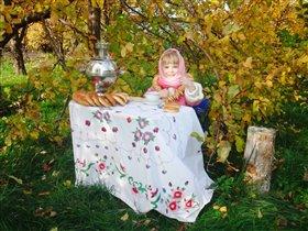 Осенний пик-ник! Барыня -сударыня чайком балуется!
