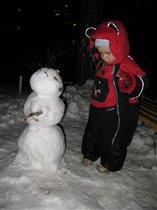 Первый снеговик!