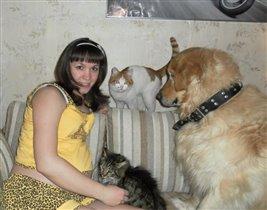 Наша дружная семья! Лео,Тасик, Максик,дочка и жена