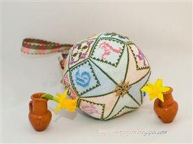 A Patchwork Garden Pincushion Ball
