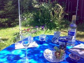 Завтрак на траве в голубом