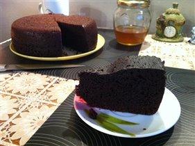 Бисквит шоколад на кипятке в Панасонике.