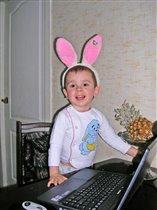 Наш зайчик и ноутбук