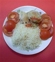 Курица с овощами и рис