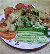Крылья-гриль с овощами