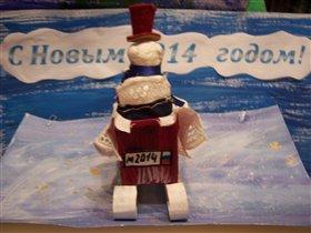 Снеговик в санях. Вид сзади. ymorozik.ru