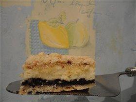 Творожный пирог на тонкой песочной основе с маком