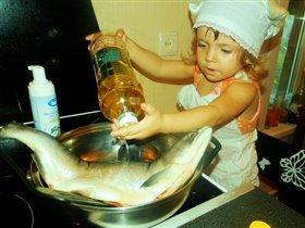 Папе ужин приготовлю,маму рыбкой угощу))