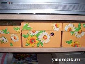 Коробки из-под обуви. Оформление. ymorozik.ru