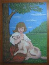 Девочка с собакой.