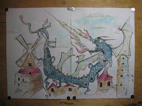 Китайский дракон гуляет по крышам