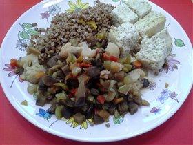 Суфле из грудки куриной, гречка и овощная смесь