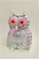 Сова из памперсов - подарок на рождение.