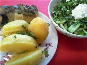 Картофель, скумбрия и салат из огруцов