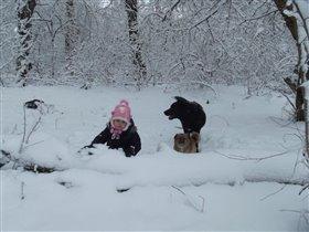 зимняя прогулка под охраной