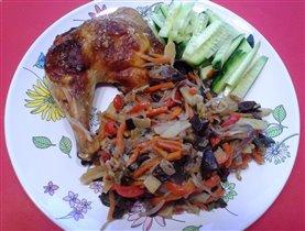 курица с апельсином и имбирем и смесь овощная