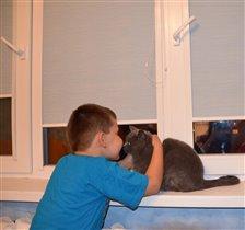 Интересная, но осторожная дружба у сынули и кошки!
