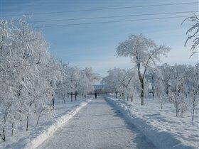 дорога в школу в зимнее время