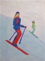 Выходные - на лыжне! Рисунок Дашеньки, 7 лет