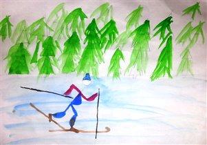 Беременный лыжник
