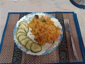Смесь Hortex (овощи по-деревенски) с рисом КАРРИ.