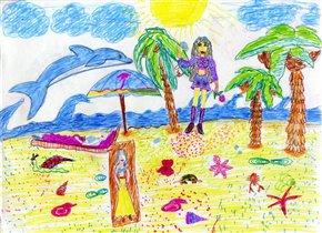Пляжная вечеринка с дельфинами.