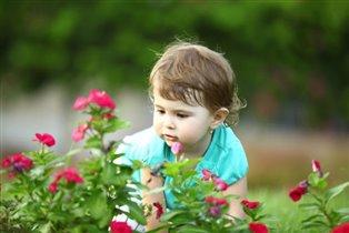 Николь в свой первый день рождения собирает цветы