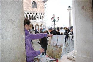 Венеция. Сан Марко. Наводнение. Юный живописец.