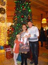 Рыжая семейка у новогодней елки