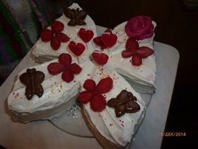 Торт на День Рождения дочки.Сами делали.