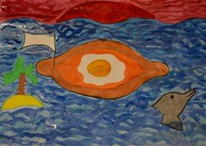 Аджарский хачапури-лодочка, плывущий по морю!