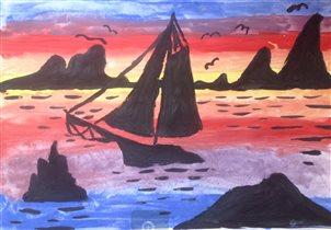 Розовый закат в Батумской бухте