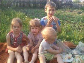 Детский пикник на огородном участке))
