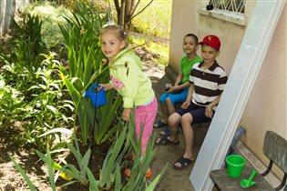 УРОК правильного полива растений от Машеньки :-))