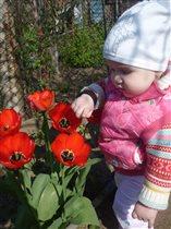 У бабуле первые цветы на даче!