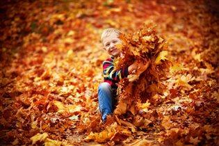 На ковре из желтых листьев...
