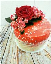 Торт крем чиз с цветами