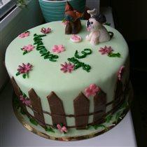 Торт с мастикой котенок гав