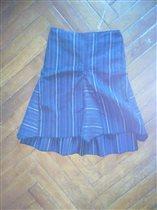 Юбка серо-синяя 8-9лет