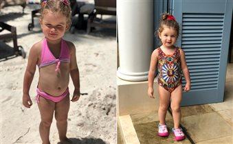 Ксения Бородина с дочками на пляже: самые модные детские купальники, видео