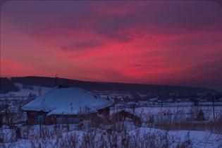 наш дом  и красивый закат