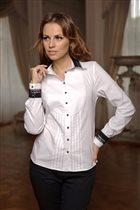 Блузка белый 64%хлопок,32%полиэстер4%эл 48(54)р
