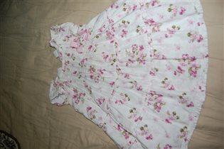 Платье 1.5 года. Белое с розовым.Хлопок. Испания