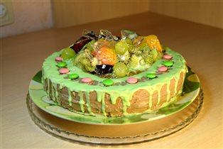 Торт с фруктами и желе,для имитации стекла.